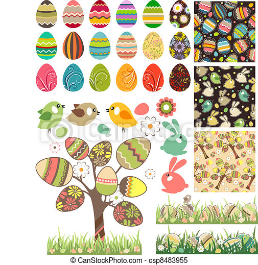 Big easter set with traditional eggs. - csp8483955