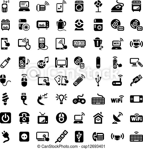 big electronic devices icons set 64 electronic devices vector rh canstockphoto com icon clipart free icon clipart person