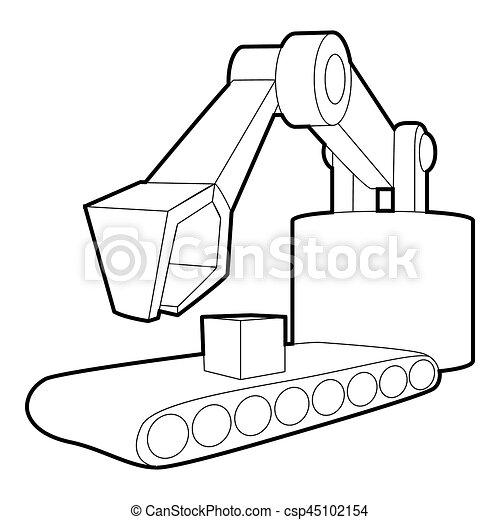 Big Excavator Icon Outline Style