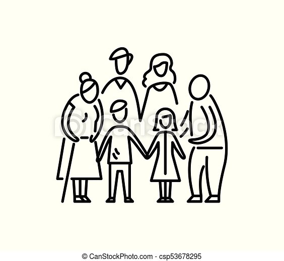 Big family children parents and grandparents Relationship mother father kids grandfather and grandmother - csp53678295