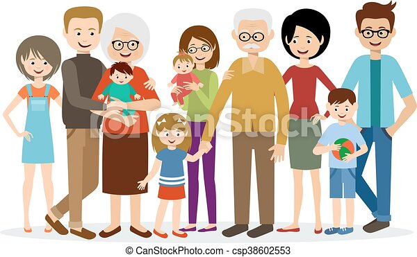 big family on a white background rh canstockphoto com big family tree clipart big indian family clipart