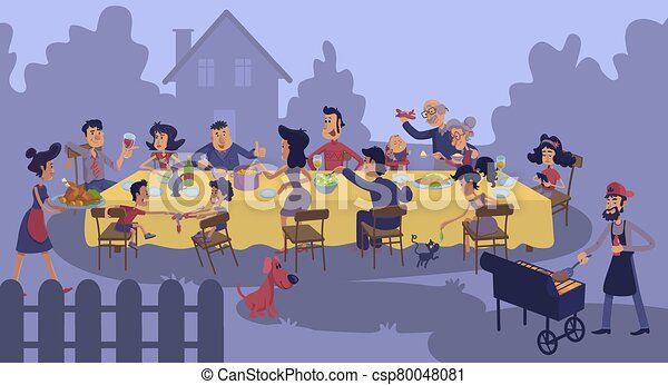 Big Family Gathering At Table Outdoors Flat Color Vector Illustration People Having Supper Grandparents Kids At Bbq