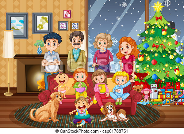 Christmas Day Clipart.Big Family Gathering On Christmas Day