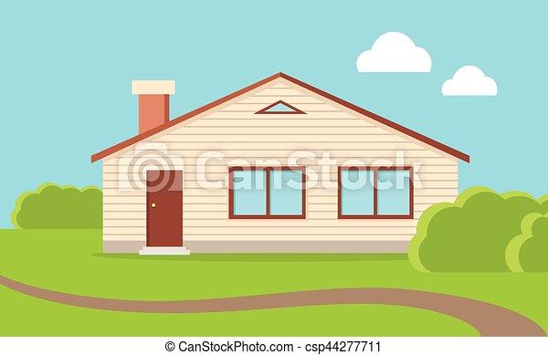 Vector Clip Art Of Big Family House Big Family House Beige - Big cartoon house