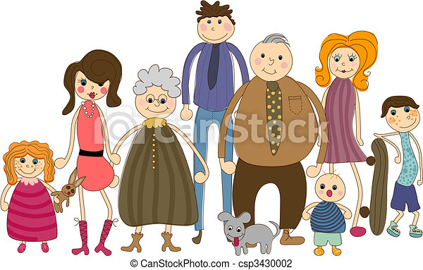 big family portrait all people are complete and grouped vector rh canstockphoto com big indian family clipart big indian family clipart