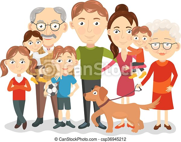 big family portrait big and happy family portrait with vector rh canstockphoto com big family clipart black and white big family tree clipart