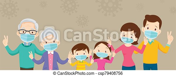 big family wearing a surgical mask to prevent virus covid-19 with copy space for banner - csp79408756