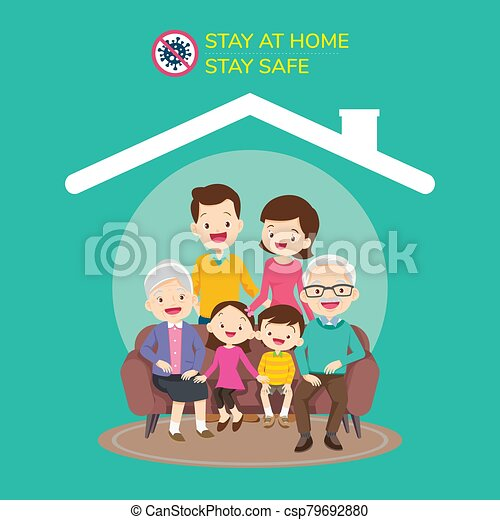 big family wearing a surgical mask to prevent virus covid-19 - csp79692880