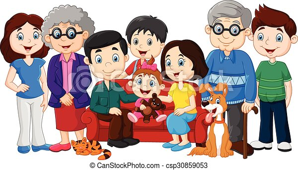 vector illustration of big family with grandparents isolated rh canstockphoto com my big family clipart big family clipart black and white