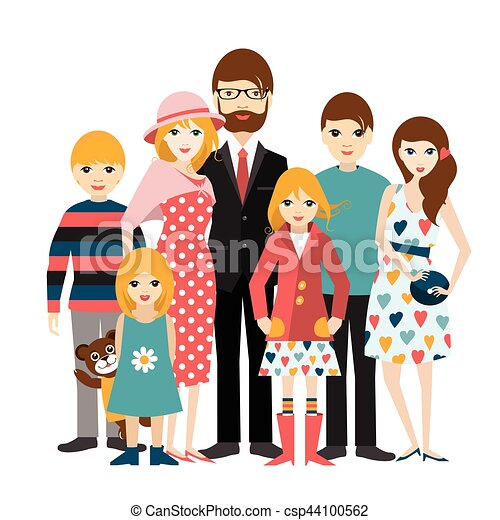 big family with many children man and woman in love clip art rh canstockphoto com my big family clipart big and small family clipart