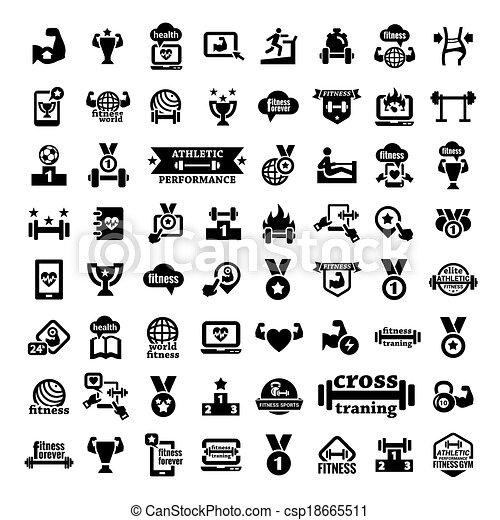 big fitness icons set - csp18665511