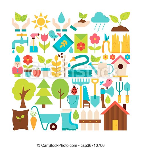 Big flat vector collection of spring garden objects. set ...