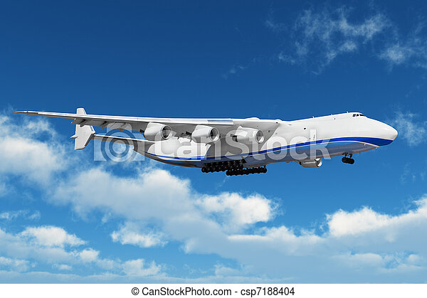 Big freight airliner in the blue sky with clouds - csp7188404