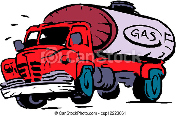 big fuel gas tanker truck clip art vector - search drawings and