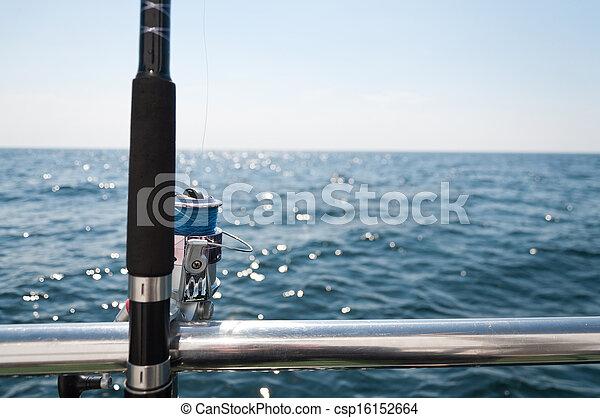 big game fishing reel in natural setting  - csp16152664