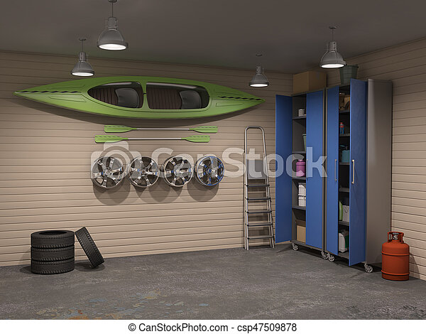 garage interior. Big Garage Interior With Many Things - Csp47509878
