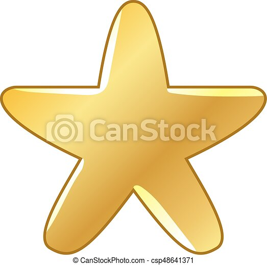 Big Gold Star Icon On A White Background Vector Vectors