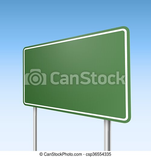 Big green direction road sign with blue sky background. - csp36554335