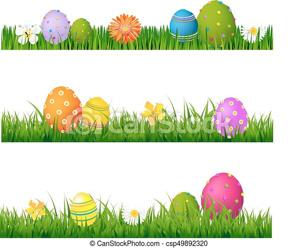 Big Green Grass Set With Flowers And Easter Eggs - csp49892320
