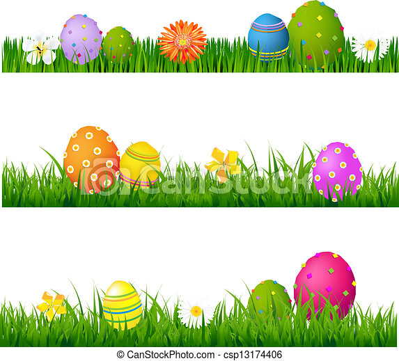 Big Green Grass Set With Flowers And Easter Eggs - csp13174406