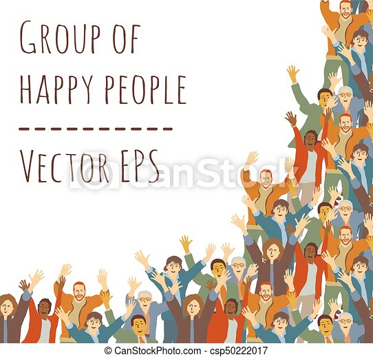 Big group happy people frame isolate on white - csp50222017