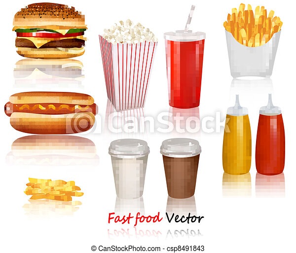 Big group of fast food products - csp8491843