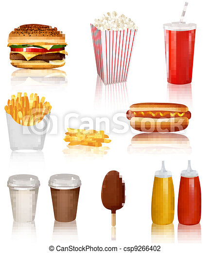 Big group of fast food products - csp9266402