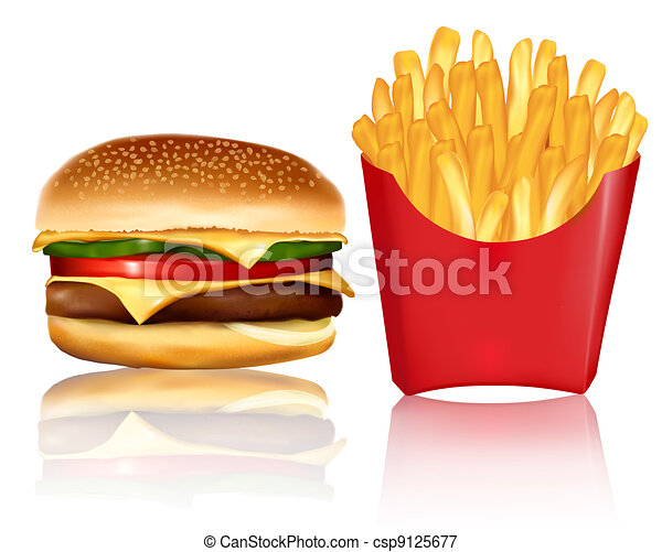Big group of fast food products.  - csp9125677