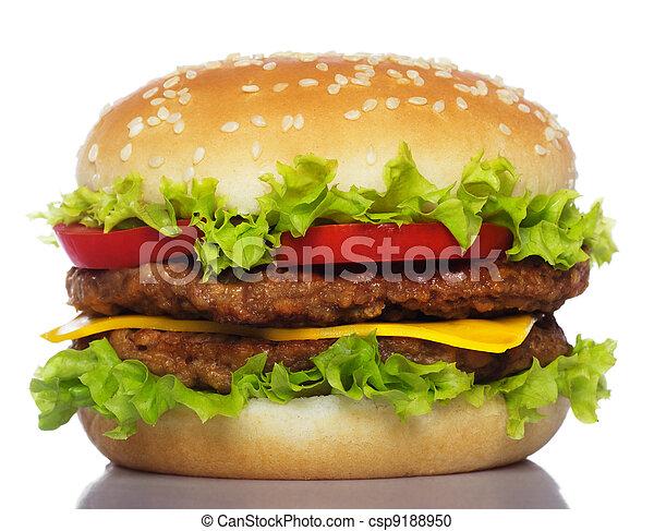 big hamburger isolated on white - csp9188950