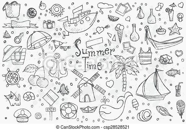 Big hand drown set on white background of summer doodles with black outlines - csp28528521