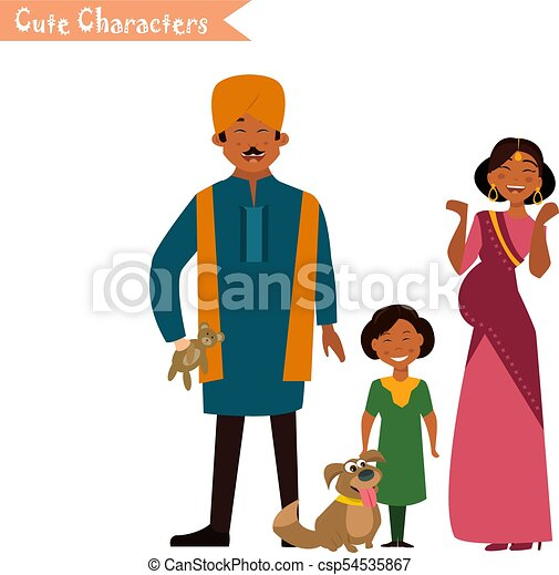 big happy indian family in national dress isolated vector clip rh canstockphoto co uk big happy family clipart big family clipart black and white