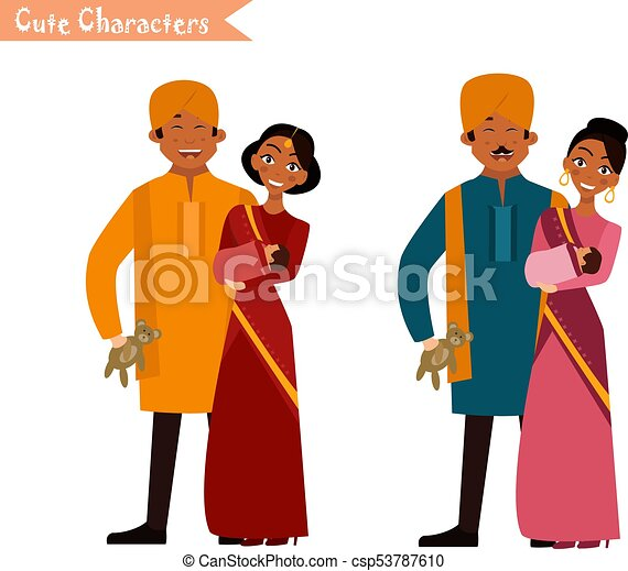 big happy indian family in national dress isolated vector vector rh canstockphoto com my big family clipart big family picture clipart