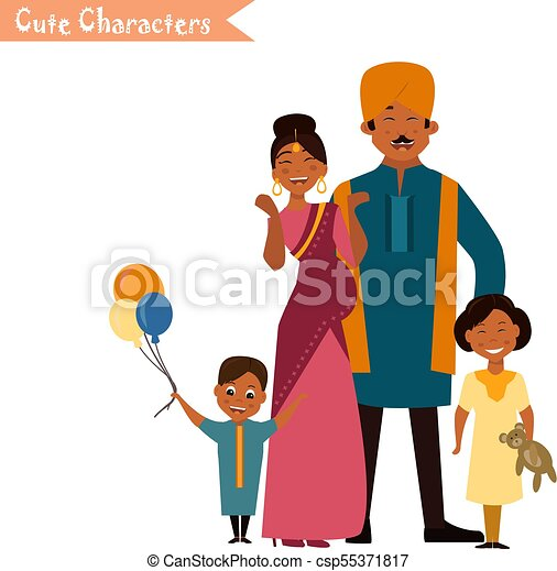big happy indian family in national dress isolated vector vector rh canstockphoto ca big happy family clipart big family clipart images