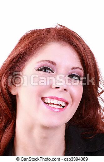 Big happy smile portrait of redhead woman - csp3394089