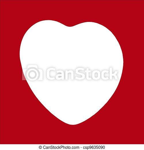 Big heart white silhouette frame.