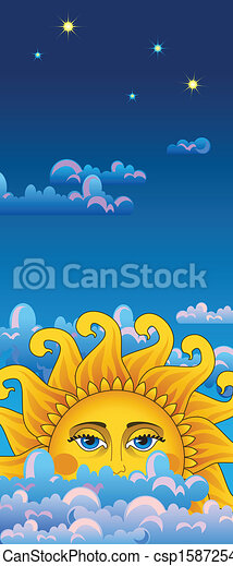 Big hot gold sun on clouds. - csp15872540