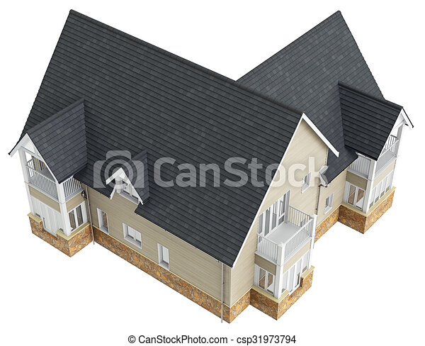 Big House With Tile Roof Top View