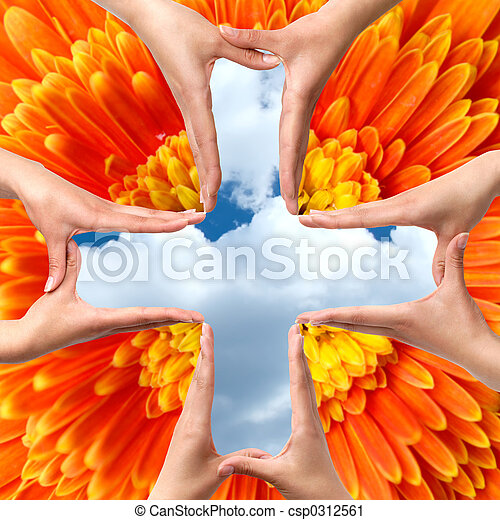 Big Medical Cross symbol from hands isolated - csp0312561