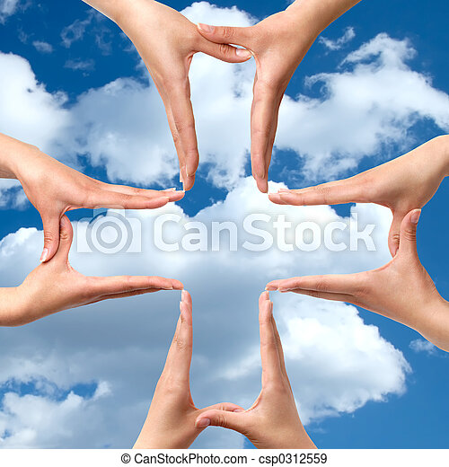 Big Medical Cross symbol from hands isolated - csp0312559