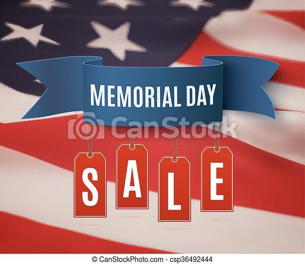 Big Memorial Day sale background. - csp36492444
