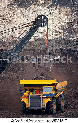 big mining truck unload coal - csp25301817