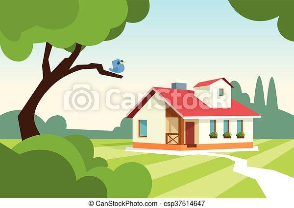 Big Modern House Residence Estate With Garden - csp37514647