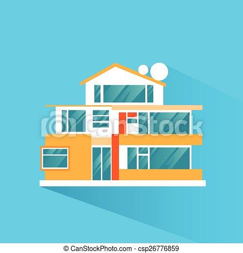 Big modern villa house icon flat design vector illustration ...