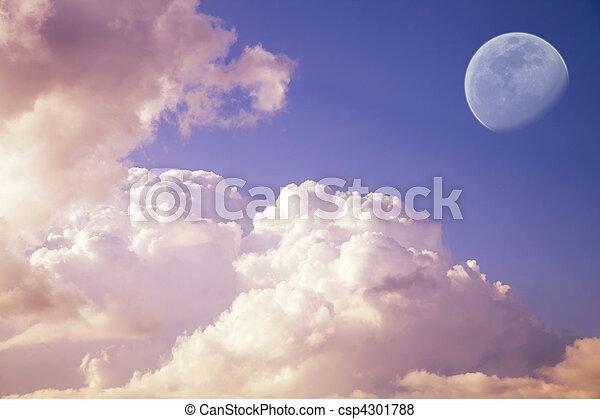 big moon in the evening sky - csp4301788