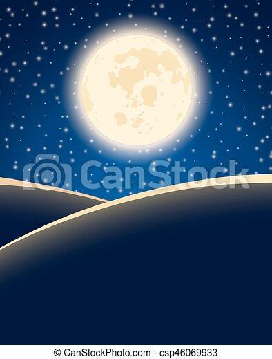 Big moon on starry night sky vector background