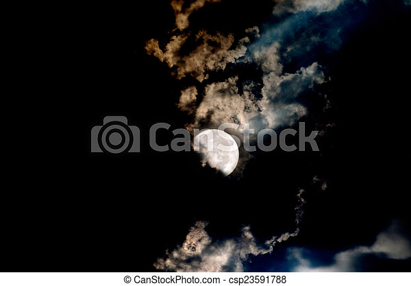 Big Moon Over The Clouds In A Dark - csp23591788