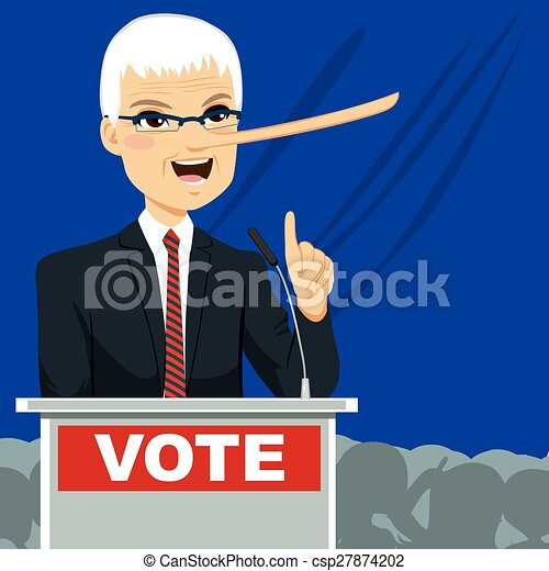Big Nose Politician Lying - csp27874202