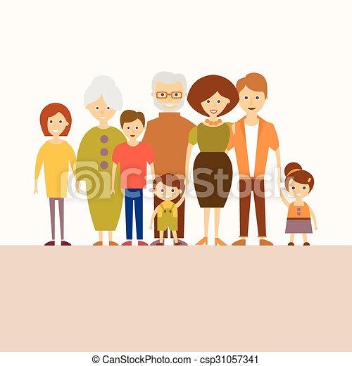 Nuclear Family Clipart Big nuclear family. ve...