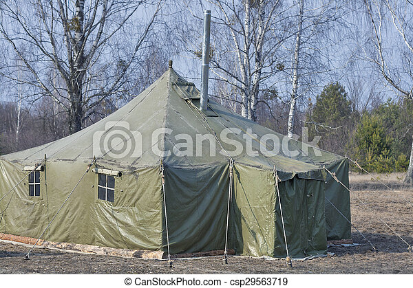 Big Old Army Expedition Tent In The Forest Stock Photo & Big old army expedition tent in the forest. Big old army... stock ...