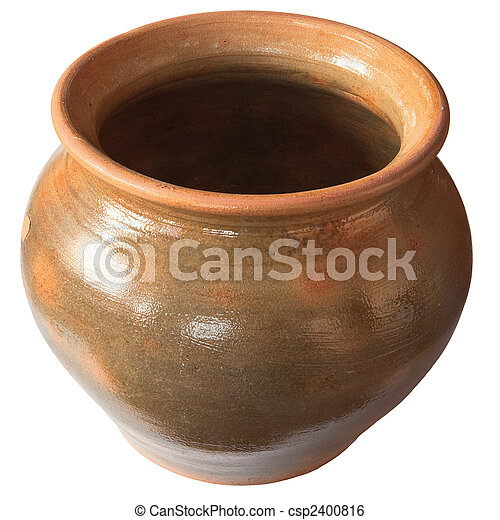 Big old clay pot isolated on a white background - csp2400816